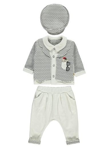 Minidamla  Erkek Bebek Şapkalı Takım 3-12 Ay Ekru  Erkek Bebek Şapkalı Takım 3-12 Ay Ekru Ekru